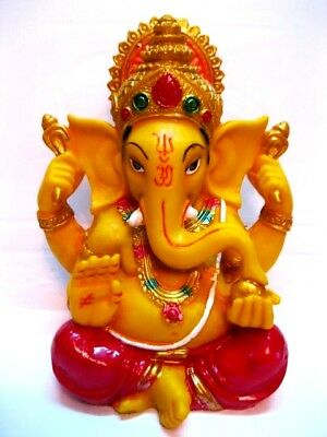 "GANESHA STATUE 6"" Resin Multi Color HIGH QUALITY Hindu Elephant God Lord Ganesh"