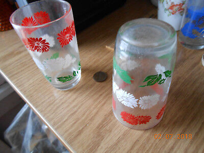small juice glasses, red white and green used vintage 2 of them