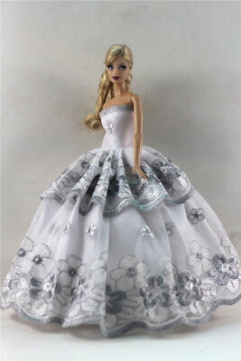 White Fashion Princess Party Dress/Evening Clothes/Gown For Barbie Doll S352