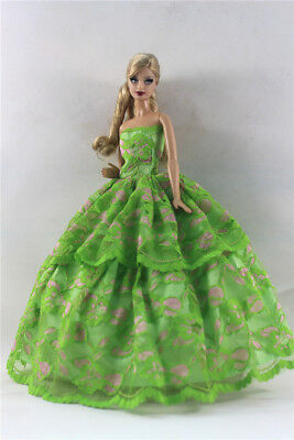 Green Fashion Princess Party Dress/Evening Clothes/Gown For Barbie Doll S354