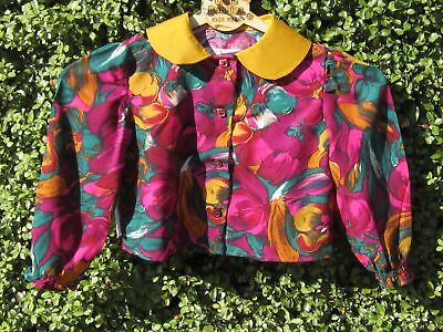 NEW Girls blouse front buttons - size 2 mustard collar