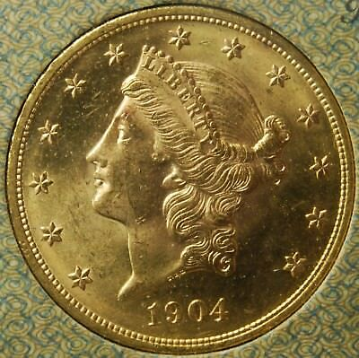 1904 Twenty Dollar Gold Liberty Double Eagle, MS, UNC, BU, SHIP FREE