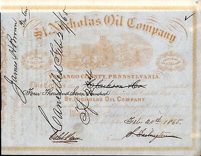 St. Nicholas Oil Company of  Venango County Pennsylvania 1865 Stock Certificate