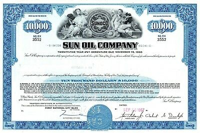 Sun Oil Company of New Jersey (Sunoco) - 1967 $10,000 Bond Certificate - blue