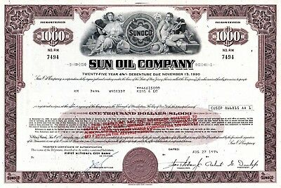 Sun Oil Company of New Jersey (Sunoco) - 1974 $1000 Bond Certificate - overprint