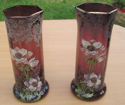 Ancienne Paire Grand Vase Emaille  Decor Floral
