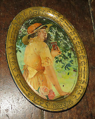 "1916 Coca-Cola Tin Lithograph Advertising Tray ""elaine"" Coke Tip - Change Tray"