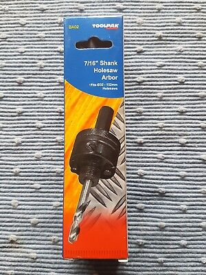"Toolpak 7/16"" Shank Holesaw Arbor Fits 32 - 150mm Holesaws"