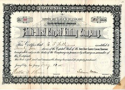 Anti Dust Carpet Lining Company of Jersey City, NJ 1889 Stock Certificate