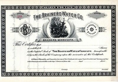 The Brainerd Water Company of Minnesota 1880's unissued Stock Certificate