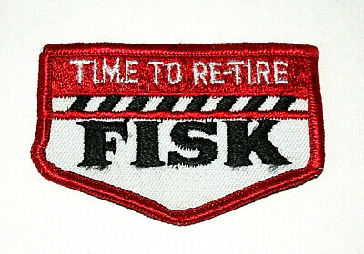Vtg Fisk Tire & Rubber Co. Time to Re-Tire Employee Cloth Patch New NOS 1960s