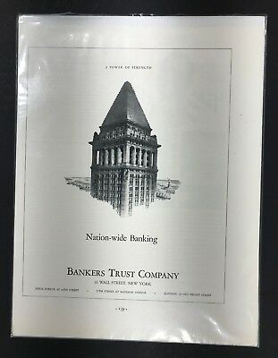 Vintage 1920s Financial Ad - BANKERS TRUST - Suitable for Framing