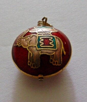 Antique Watch Fob Round with Gilded & Enameled Indian Elephant