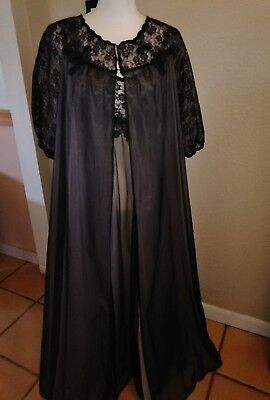 Vintage NEW WARNERS dbl CHIFFON LACE NIGHTGOWN PEIGNOIR old stock NWT 36 BLACK