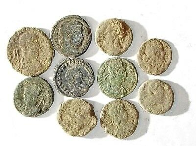10 ANCIENT ROMAN COINS AE3 - Uncleaned and As Found! - Unique Lot 14208