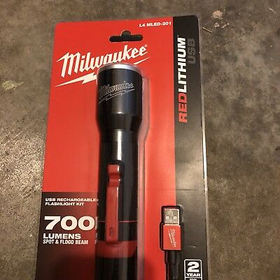 Milwaukee L4MLED-201 4V 700Lumens USB LED Rechargeable Flashlight Torch Kit