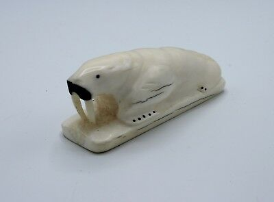 Vintage Native Alaskan Yupik Eskimo Large Walrus Carving