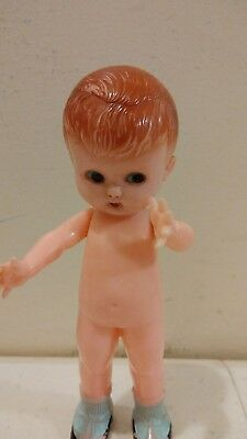 "Vintage Knickerbocker Plastic Rattle Doll Toy Kewpie Baby Boy 6"" moveable arms"