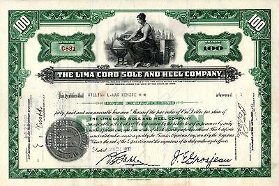 The Lima Cord Sole and Heel Company of Ohio 1937 Stock Certificate