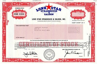 The Lone Star Steakhouse and Saloon Incorporated 1999 Stock Certificate