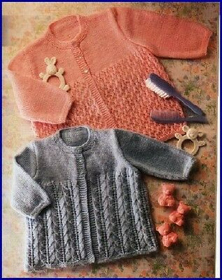 Baby Knitting Pattern copy Matinee Jackets in 2 designs in 4 Ply Unusual Designs