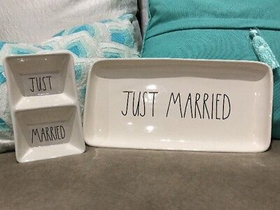 "Rae Dunn ""JUST MARRIED"" Platter And Divided Dish NEW"