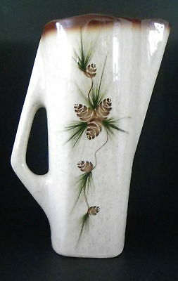 Vintage ROMCO Tall Pitcher Rocky with Ice Lip Mountain Pine Cone Pattern Brown