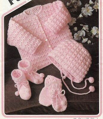 Vintage Baby Crochet Pattern Copy JACKET Bonnet Bootees Mitts  in 8 Ply