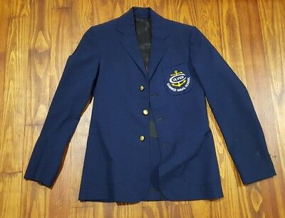 VINTAGE 1970'S ORIGINALS YOUTH 13-14 blue SCHOOL WOOL BLAZER JACKET culver
