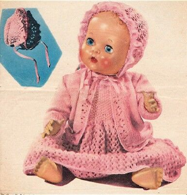 Knitted Doll Pattern BABY Doll Lacy Dress COAT Bonnet Copy 3 Ply