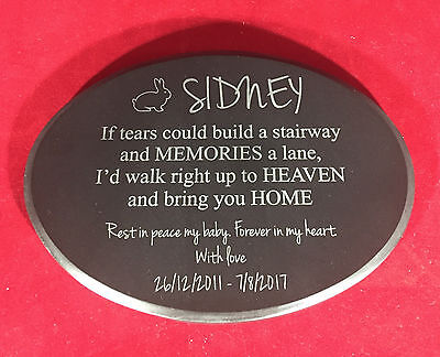 Granite Pet Memorial Plaque Oval personalised engraved