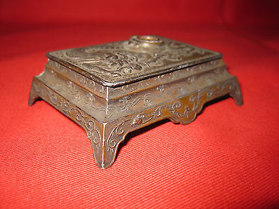 Rare Antique Dragon Chinese  Stamps Box With A Compass.