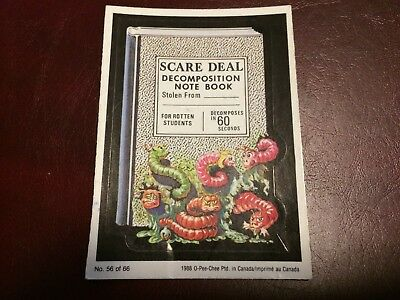 1988 Wacky Packs Scare Deal Note Book Card Used Topps O-Pee-Chee Canada