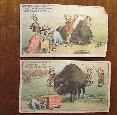 3&4  Victorian Advertise Cards RW Bell Soap Bison Buffalo Welsh Broth Pittsburgh
