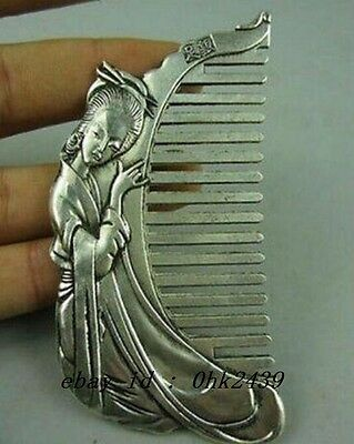 collectible Old china Miao Silver Hand-carved beauty Belle Usable Comb