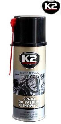 K2 PROTECT BELT CAR DRESSING SPRAY ANTI SLIP NOISE REDUCING STOP SLIPPING 400ml