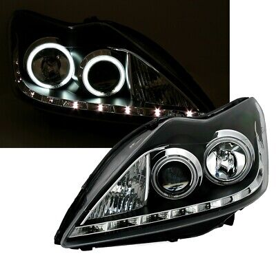 CCFL ANGEL EYES SCHEINWERFER SET für FORD FOCUS MK2 Facelift in SCHWARZ mit LED