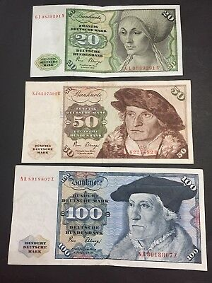 Germany 1980 100, 50 and 20 Deutsche Marks Lot Same Signature Lot