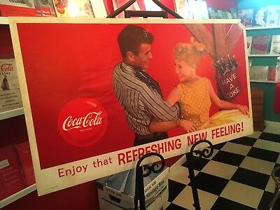 Coca Cola 1960s Square Dancing Couple Cardboard Display Sign Litho Poster