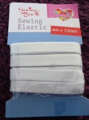 SEWING ELASTIC*WHITE COLOUR*4M X 12mm*NEW*