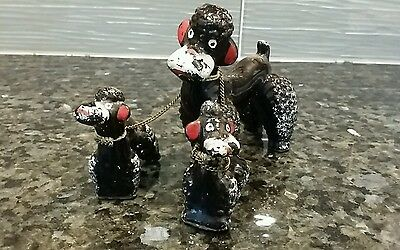VINTAGE WALLS BLACK POODLE TRIO SET DOG Porcelain Figurine Made in Japan