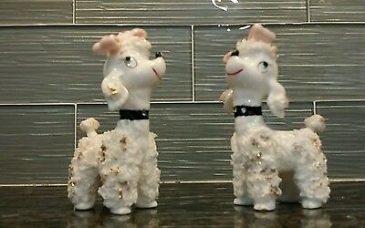 PAIR OF VINTAGE WHITE POODLES DOG Porcelain Figurine Made in Japan Rhinestone