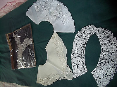Lot of Vintage Ladies Collars,4 Different Styles, New, White / Beige