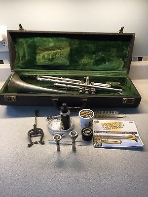 Vintage 1920s/30s Wurlitzer Lyric Silver Plated Brass Trumpet With Case