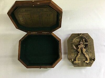 Brass Sundial Compass Boxed. F. Cox 100 Newgate St. London