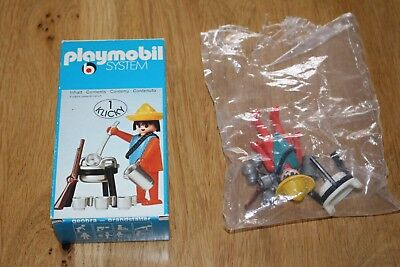 PLAYMOBIL 3344,Mexikaner, Mexican mit Kochstelle 1974 Klicky MIB, opened, in OVP