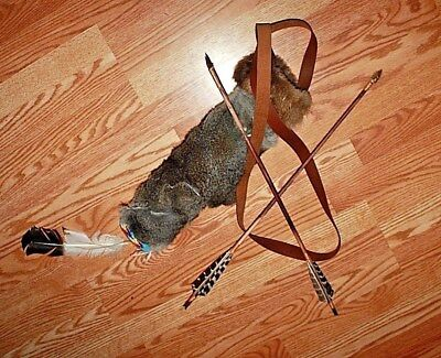 """Native American style furred quiver with 2 primitive ~25""""  arrows"""