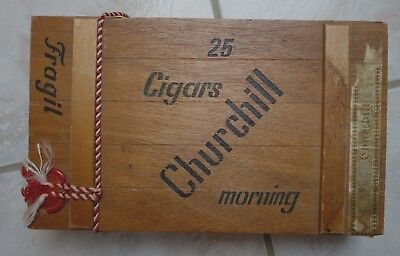 Zigarrenkiste Holz Kiste Churchill morning cigars 24,5x14,5x4,3 cm mit Siegel