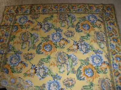 April Cornell Square Blue And Yellow Tablecloth & 4 Napkins Country French