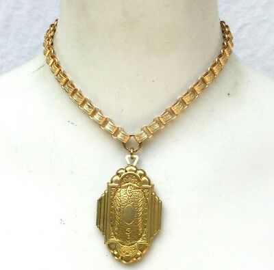 Book Chain Necklace w Locket Collar choker gold aesthetic Victorian repro